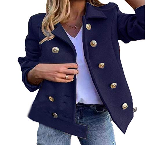 Autumn And Winter New Products Fashion Suit Collar Double-Breasted Button Woolen Coat Women