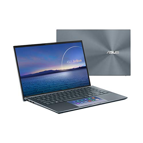 "ASUS ZenBook 14 Ultra-Slim Laptop 14"" FHD NanoEdge Bezel Display, Intel Core i7-1165G7, NVIDIA MX450, 16GB RAM, 512GB SSD, ScreenPad 2.0, Thunderbolt 4, Windows 10 Pro, Pine Grey, UX435EG-XH74"