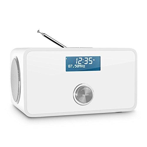 auna DABStep - Digitalradio, Radiowecker, DAB/DAB+ und UKW Tuner, RDS, LCD-Display, Datum- und Uhrzeit-Anzeige, Breitbandlautsprecher, Sleep-Timer, AUX, Weiss