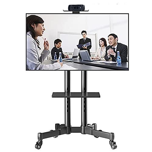 SSZY Soporte TV Trole Soporte Inclinable para TV Móvil con 2 Espacios de Almacenamiento, Carro de TV Negro para Servicio Pesado con Ruedas Bloqueables, Carro de TV de Altura Ajustable