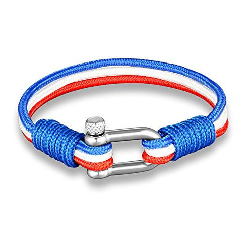 Daawqee Premium Armband, Country Spain Flag Sport Camping Parachute Cord Men Women Nautical Survival Rope Chain Bracelet Summer Style French