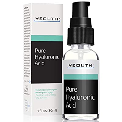 Hyaluronic Acid Serum for Face by YEOUTH - 100% Pure Anti Aging Formula! Holds 1,000 Times Its Own Weight in Water, Plumps and Hydrates Skin, Reduces Wrinkle -All Natural Moisturizer