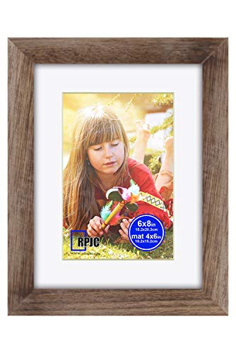 RPJC 11x14 inch Picture Frame Made of Solid Wood and High Definition Glass Display Pictures 8x10 with Mat or 11x14 Without Mat for Wall Mounting Photo Frame Carbonized