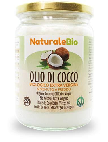 Aceite de Coco Ecológico Extra Virgen 500 ml. Crudo y prensado en frío. 100% Orgánico, Puro y Natural. Aceite bio nativo no refinado. País de origen Sri Lanka. NaturaleBio