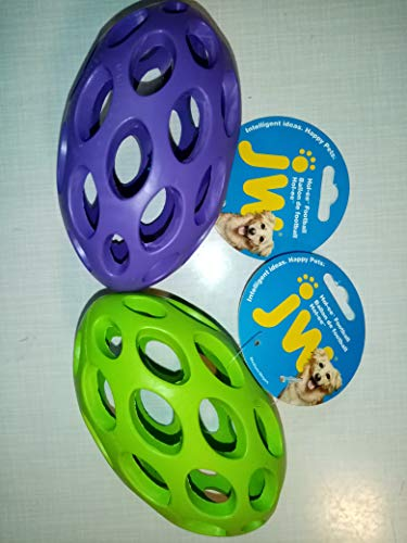 JW Pet Company Hol-ee Football Size 6 Rubber Dog Toy, Medium, Colors Vary by JW Pet Company