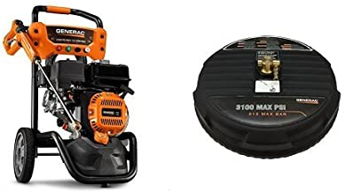 Generac 7019 OneWash 3,100 PSI, 2.4 GPM, Gas Powered Pressure Washer and PowerDial Gun Bundle with High Pressure Surface Cleaner Accessory