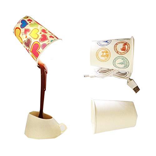 LED-Nachtlicht DIY USB Gießen Kaffee Lampe Kreative Inverted Kaffee Schlafzimmer Nachttischlampe mit 3 Papierschale, USB Batterie Dual-Use, Cool White