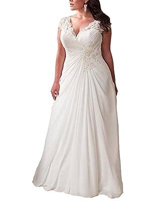 YIPEISHA Women's Elegant Applique Lace Wedding Dress V Neck Plus Size Beach Bridal Gowns (Custom Size, Ivory)