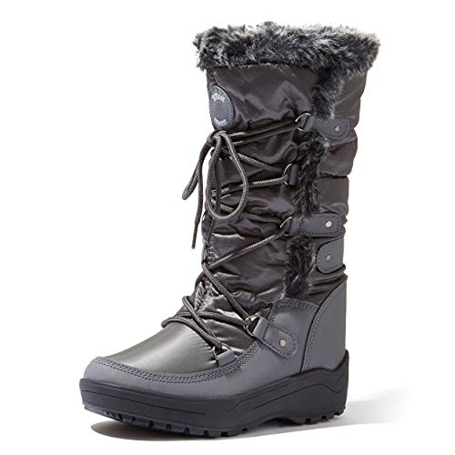 DailyShoes Knee High Faux Fur Lined Snow Boots Bootie Winter Warm Mid Calf Lace Up D Ring Short Eskimo Boot for Women Alaska-01 Grey 11