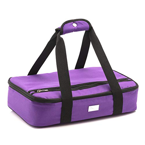 Pursetti Casserole Carrier - Single Layer Insulated Bags for Food Transport of Lasagna, Salad & Dessert for Potluck, Family and Holiday Parties (Purple)