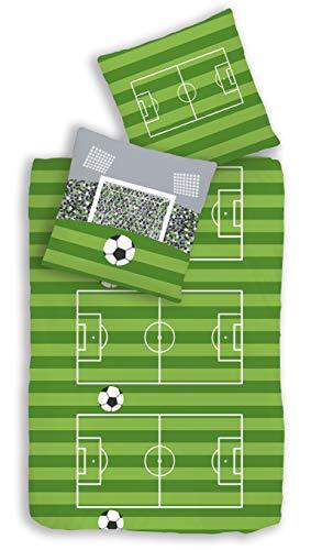 Parure de lit 2 pièces en coton renforcé pour enfant Motif football, terrain de football & buts Vert Gris - Dimensions : 80 x 80 + 135 x 200 cm - 100 % coton