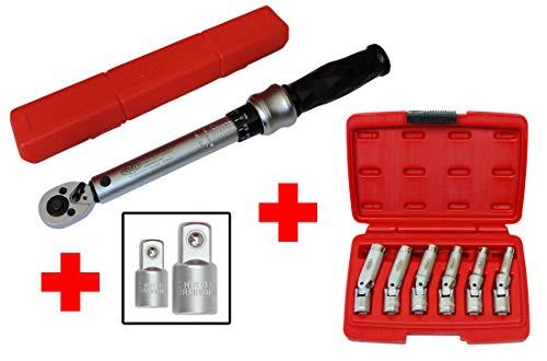 FAMEX 14875 Glühkerzen Wechsel Werkzeug Set - Glühkerzen Gelenk Schlüssel - Drehmomentschlüssel 6-30 Nm - Adapter