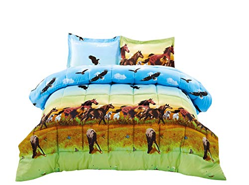 BEDnLINENS HIG 3D Comforter Set King - 3 Piece 3D Horse and Eagle Printed Comforter Set King Size (Y25) - Box Stitched, Soft, Breathable, Hypoallergenic, Fade Resistant -Includes 1 Comforter, 2 Shams