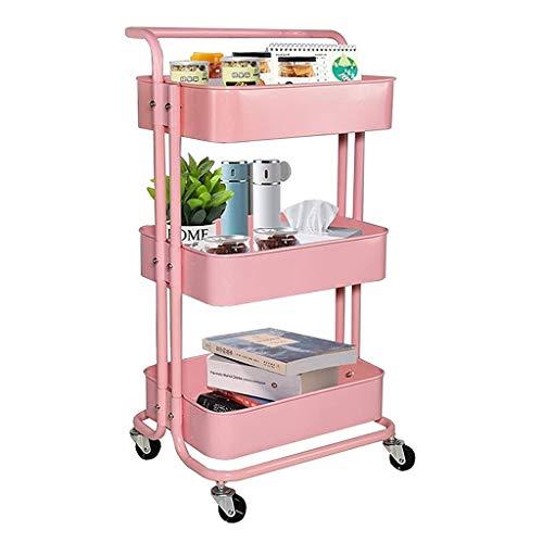 GFL Carrito de Servicio Carro Carro de Cocina Carro de Almacenamiento Estante Enrollable para Carrito Utilitario con Rodillos 3 Pisos para Cocina Baño Oficina (Color : Pink)