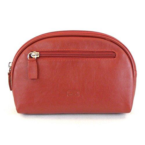HGL Trousse de maquillage HGL1 Femme Cuir Rouge 11456 Compartiment Zippé Fermeture Éclair Passant de ceinture