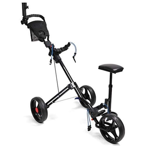 LVHC Golf Push Cart Faltbare 3-Rad-Push-Pull-Wagen Golf-Trolley mit Sitz Anzeiger Bag Eine Sekunde Zum Öffnen Und Schließen Golf Handwagen