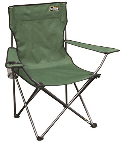 Quik Chair Portable Folding Chair with Arm Rest Cup Holder and Carrying and Storage Bag Green