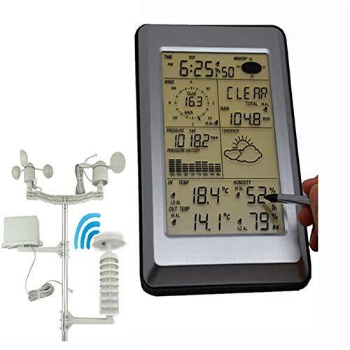 MorLugan Professionelle Wetterstation mit PC Link Haushalts Funk-Thermometer Hygrometer Luftdruck- Wettervorhersage für Home Office (Color : Black, Size : One Size)