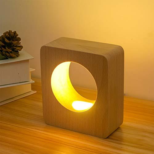 QEGY Lámpara Escritorio con Regulable y USB Recargable, LED Lámpara de Mesa con 3000K y Interruptor de Pulsador, Madera Lámpara de Mesita Cuidado de Ojos, para Dormitorio