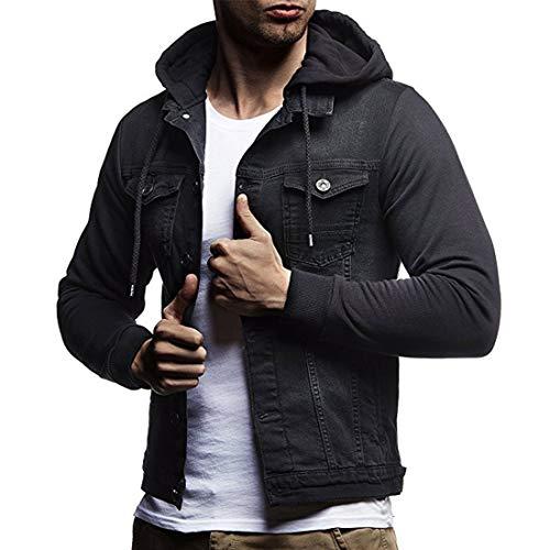Men's Denim Jacket Casual Long Sleeve Hooded Jacket Leisure Button Hooded...