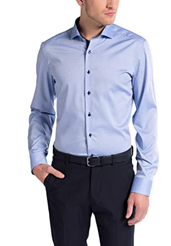Eterna Mode GmbH Herren Slim Fit Business Hemd, Mittelblau, Gr. W37 Langarm
