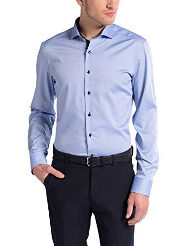 eterna Langarm Hemd Slim FIT Pinpoint unifarben, Mittelblau, W40 Langarm