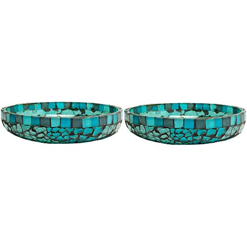 Amber Home Goods Blue Moon Glass Pillar Plate Holder Functional Table Decorations Centerpieces for Dining/Living Room-Best Wedding Gift Candle Stick Accent Décor (Set of 2)