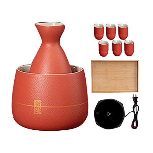 XXXD Calentador de vino caliente jarra de vino hogar rojo sake vino conjunto, arroz vino sake caliente jarra vino calentador vino jarra vino vino vino jarra