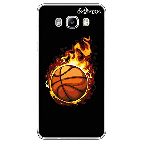 dakanna Funda para Samsung Galaxy J7 2016 | Balón de Baloncesto en Llamas | Carcasa de Gel Silicona Flexible Transparente