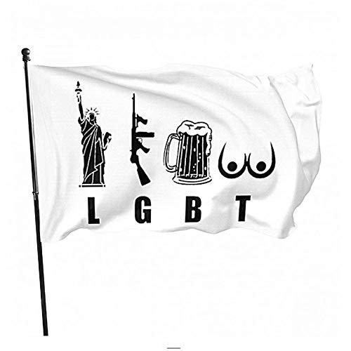 Wream Liberty Gun Beer Funny America 3 X 5 Flag Brass Washer