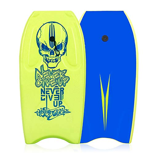 Tuuertge Kids Surfboard 2 Color Full Printing 36 Inch Body Board EPS+IXPE Lightweight Slick Board Surfboard (Color : Green, Size : 36 inch)