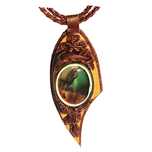 Amber Paradise Impresionante Collar de ágata Verde y Cuero con Pulsera de ágata a Juego con una Obra de Arte única