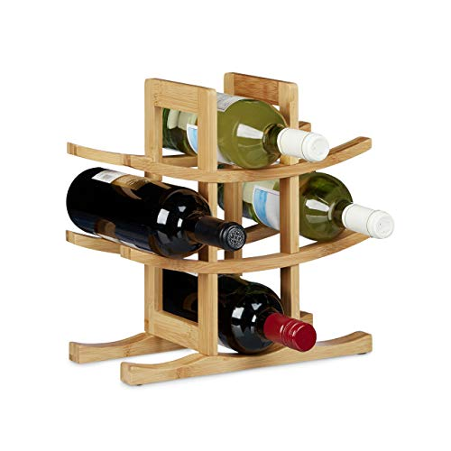 Relaxdays Portabottiglie da Terra per 9 Bottiglie, Cantina in bambù HxLxP 30x30x14,5 cm, Design Asiatico, Naturale, Legno, Marrone, 14.5x30x30 cm