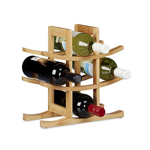 Relaxdays Botellero de Diseño Original para 9 Botellas, Madera Natural, 30 X 30 X 14,5 cm