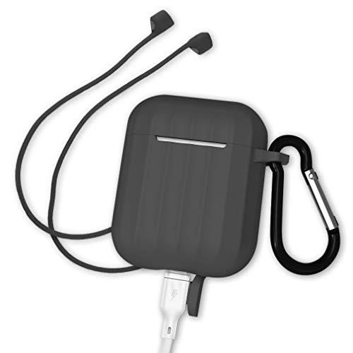AirPods ケース Apple AirPods 第1/2世代に適用 シリコンカバー 保護ケース キズ防止 防水 防塵 滑り止め 耐衝撃 ストラップを送る (ブラック)