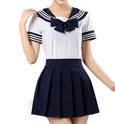 WenHong Japan School Uniform Dress Cosplay Costume Anime Girl Lady Lolita Navy - http://coolthings.us