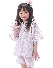 パジャマ 甚平 子供用 女の子 綿100% 上下セット 涼しい キッズ ボーイズ ルームウェア お部屋着 [100cm/110cm/120cm]
