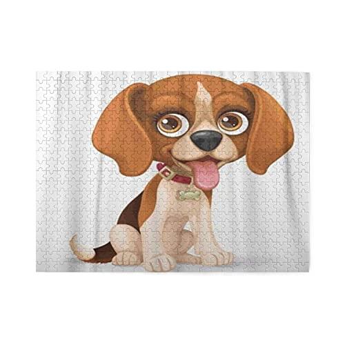 HASENCIV 500 Piezas Rompecabezas Rompecabezas Adorable Cachorro Beagle De Orejas Caídas De Dibujos Animados Lindo Sentado En Animal De Piso Blanco Familia Educativo Intelectual Descompresión D