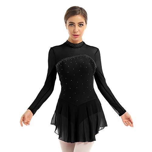 Agoky Donna Body Pattinaggio Artistico Ginnastica con Strass Vestito da Balletto Danza Classica...