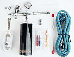 Cordless airbrush kit. Battery-powered. Rechargeable via USB. Airbrush comes with a second valve and air hose so it can be connected to a large compressor Over 40 minutes continues work on a single charge. Will keep running when charging cable plugge...