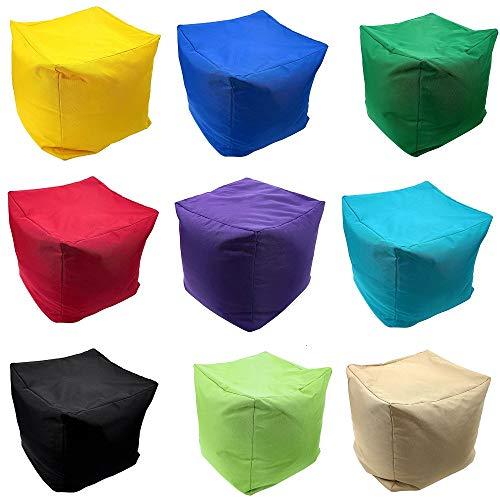 ComfyTrends Waterproof Cube Bean Bag Indoor Outdoor Footstool Square Pouffe Medium Size 40 x 40 x 40 cm Beanbag (Black)