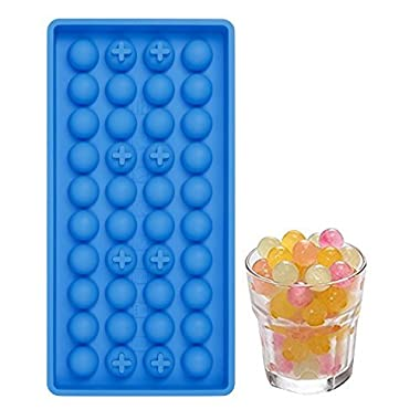 40 Mini Ice Cube Trays Easy Pop Out ice Cube Maker Soft Silicone Non Stick Perfect for Party BBQ Garden BPA Free FDA Approved (Round ice)