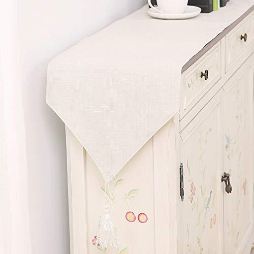 Cool-CZQ Tischläufer Stoff Und Quaste Art Deco Zum Bankett Einfacher Stil Einfarbig Esstisch Läufer Geschenkauswahl (30 * 240CM,Cremefarben)