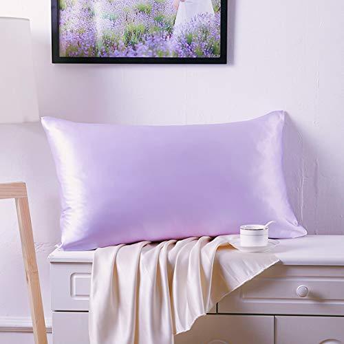 Federa per cuscino in raso setoso per capelli e pelle del viso per prevenire le rughe cerniera nascosta (lavanda, standard (50 x 75 cm) 2 Pk)