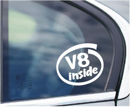 SCOOBY DESIGNS V8 INSIDE Auto Fenster Aufkleber Kofferraum Motor Mustang Cobra VXR M5 MADE
