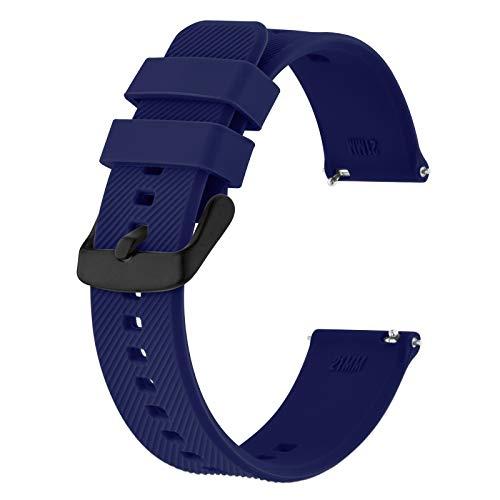 BISONSTRAP Correa de Reloj 20mm, Correas de Silicona de Liberación Rápida para Hombres y Mujeres (Azul Oscuro, Hebilla Negra)