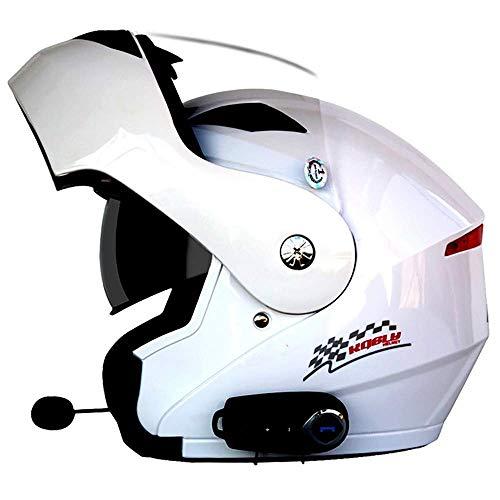 XYXZ Cascos Integrales De Motocicleta Casco De Motocicleta Modular Bluetooth Abatible hacia Arriba Casco De Motocicleta Integrado Lente HD Auriculares Incorporados Micrófono Diseño De Person