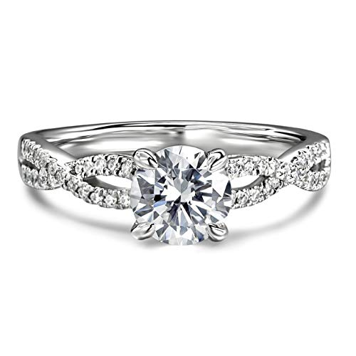 1ct Round Brilliant Cut Petite Twist Cubic Zirconia CZ Engagement Rings Simulated Diamond Rhodium Plated 925 Sterling Silver Rings |Ideal Cut, D-E Color, FL Clarity