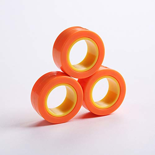 Magnetic Rings, Stress Relief Toys, Decompression Relief Autism, Anxiety, Stress Toys, Training Relieves Stress Reducer 6 Pcs Set(Orange outside and yellow inside)