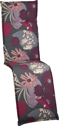 Beo Gartenstuhlauflage Polster Aquarell Blumenmotiv M705 für Relaxstühle grau hellgrau beige brombeer